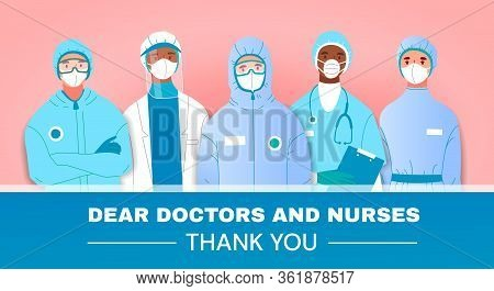 Thank You Tribute Or Card To Doctors And Nurses Fighting In The Front Line Against The Coronavirus O