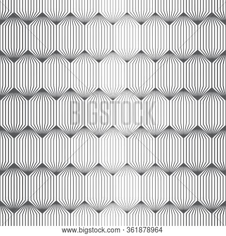 Vector Seamless Pattern. Infinitely Repeating Modern Geometrical Stylish Texture. Hexagonal Linear G