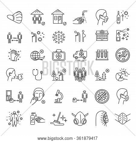 Vector Coronavirus Covid-19 Line Icons Set. Thin Line Mask, Virus, Hospital, Respiratory Disease Pre