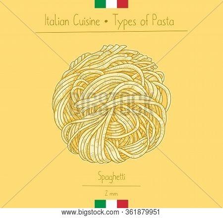 Italian Food Spaghetti Pasta, Sketching Illustration In The Vintage Style