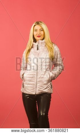 Young Beautiful Woman Wearing Casual Jacket Over Pearch Isolated Background.