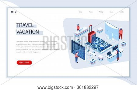 Travel And Vacation Isometric Landing Page. Web Solution For Journey Planning And Organisation, Onli
