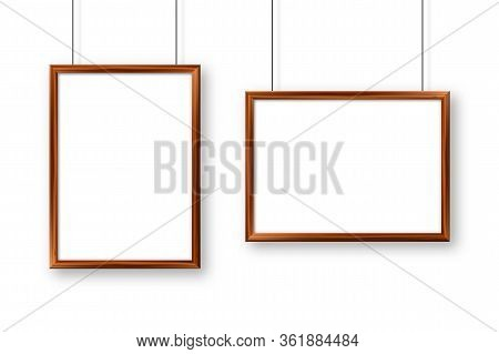 Realistic Hanging On A Wall Blank Wooden Picture Frame. Modern Poster Mockup. Empty Photo Frame With