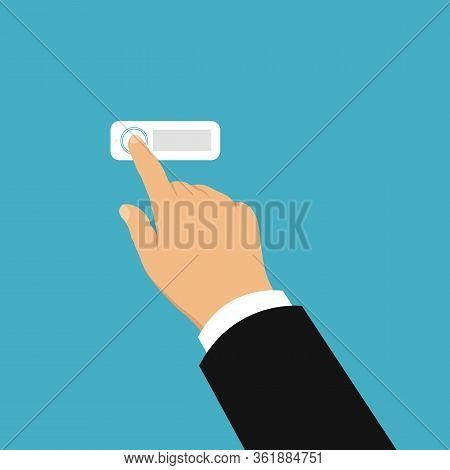 Flat Design Illustration Of Hand Of Salesman Or Trader. Ringing Electric Doorbell And Going To Visit