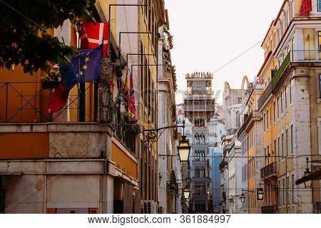 Evening Summer Image Of Santa Justa Lift In Lisbon, Portugal