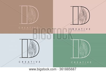 Outline Letter D Logo Icon With Wired Leaf Concept Design On Colorful Backgrounds. Letter D With Nat