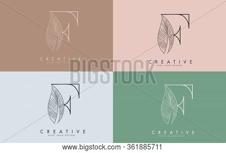 Outline Letter F Logo Icon With Wired Leaf Concept Design On Colorful Backgrounds. Letter F With Nat