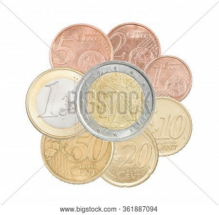 A Full Set Of Euro Italy Coins Collected In One Pile And Isolated On A White Background