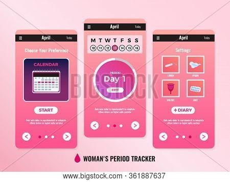 Pms Woman Mobile App Calendar Design Concept With Three Windows Or Screenshots Vector Illustration