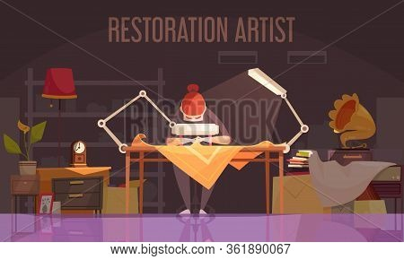Artist Restorer Colored Flat Banner With Restoration Artist Works On Restoring Things Vector Illustr