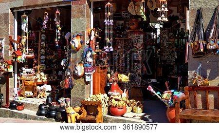 Chordeleg, Azuay, Ecuador - October 30, 2018: Handmade Wooden, Ceramic, Wicker Along With Others Sou