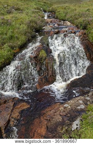 Waterfall On Mountain Stream By Old Military Road, Rannoch Moor, Highland, Scotland, Uk  Viewed From