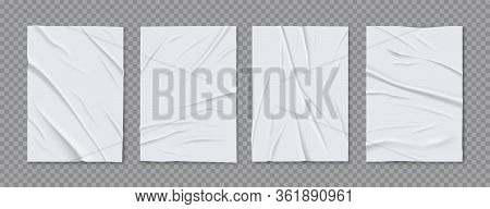 Badly Glued Wrinkled Crumpled 4 White Foil Paper Sheets Posters Set Gray Transparent Background Real