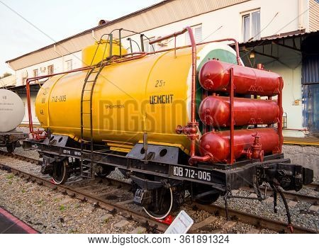 Voronezh, Russia - August 29, 2019: Biaxial Cement Tank, Retro-exhibition Of Railway Equipment, Voro