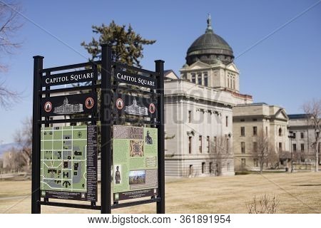 Helena, Montana - April 8, 2020: State Capitol Of Montana Map And Direction Sign For The Capitol Squ