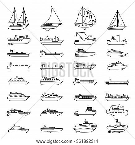 Ships And Boats Set. Barge And Cargo Ship, Tanker, Sailing Vessel, Cruise Liner, Tugboat, Fishing An