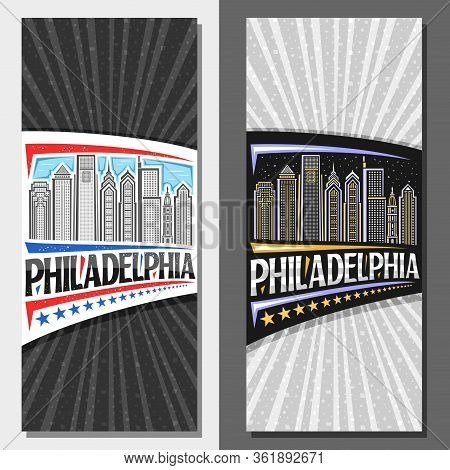 Vector Layouts For Philadelphia, Decorative Leaflet With Line Illustration Of Modern Philadelphia Ci
