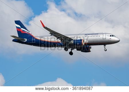 Istanbul / Turkey - March 30, 2019: Aeroflot Airbus A320 Vq-brv Passenger Plane Arrival And Landing