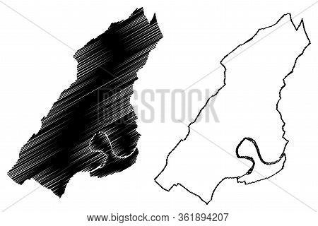 Besancon City (french Republic, France) Map Vector Illustration, Scribble Sketch City Of Besancon Ma