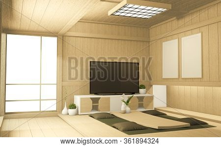 Tv Cabinet In Tropical Empty Room Japanese - Zen Style,minimal Designs. 3D Rendering
