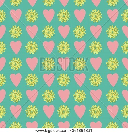 Uplifting Yellow And Orange Summer Floral And Hearts Vector Repeat Pattern. Pattern For Fabric, Back