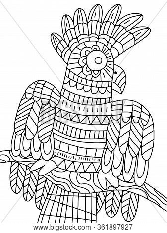 Funny Parrot Sits On A Branch Coloring Page For Kids And Adultd Pastime. Jungle Animal Detailed Colo