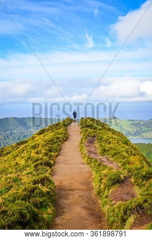 A Path Leading To Viewpoint Miradouro Da Boca Do Inferno In Sao Miguel Island, Azores, Portugal. Ama