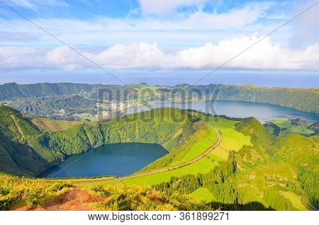 Viewpoint Miradouro Da Boca Do Inferno In Sao Miguel Island, Azores, Portugal. Amazing Crater Lakes