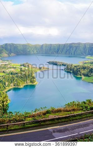 Amazing View Of The Lakes Sete Cidades Photographed From The Vista Do Rei Viewpoint In San Miguel Is