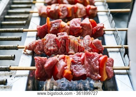 Bbq Shish Beef On Skewers. Summer Delicious Fried Kebabs With Red Peppers Vegetables. Barbecue With