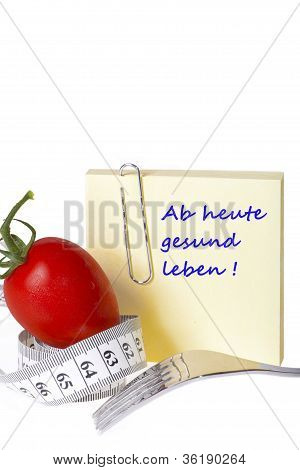 Yellow notepaper with the inscription: Ab heute gesund leben! isolated on white background - Concept of healthy food and diet poster