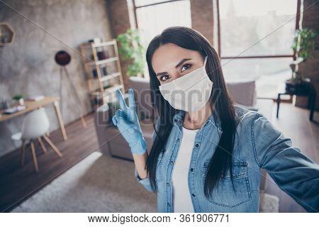 Self-portrait Of Her She Nice Attractive Lovely Brunette Girl Wearing Mask Gloves Sanitary Measures