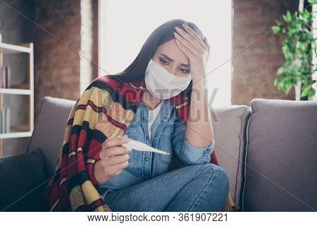 Close-up Portrait Of Her She Nice Attractive Sick Worried Depressed Brunette Girl Sitting On Divan M