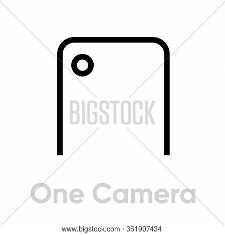 One Camera Phone Icon. Editable Line Vector.