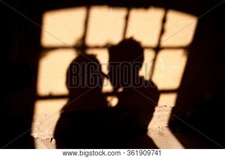 Silhouette Of Lovers On The Window. Shadows From A Couple In Love On The Wall. Silhouette Of The Bri
