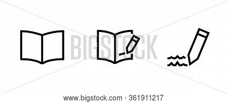 Set Book Or Workbook Icon. Editable Vector Outline.