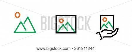 Set Picture And Gallery Icon. Editable Line Vector.