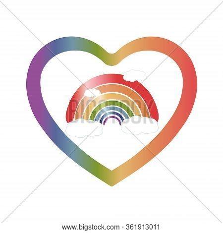 Hope Coronavirus Rainbow Logo. Motivational Slogan Everything Will Be Fine, Ok. Positive Message To