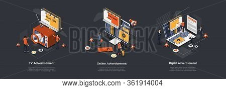 Isometric Digital Advertising And Technologies Concept. Strategies Of Different Ways And Types Of Ad