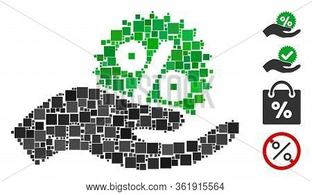 Mosaic Give Percent Bonus Icon United From Square Elements In Various Sizes And Color Hues. Vector S