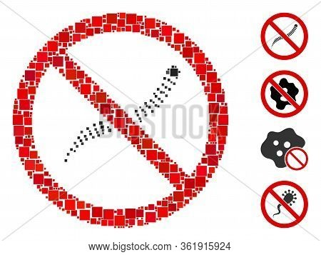 Collage No Helminth Worms Icon United From Square Items In Various Sizes And Color Hues. Vector Squa
