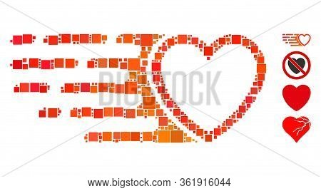 Mosaic Rush Love Heart Icon Constructed From Square Items In Different Sizes And Color Hues. Vector