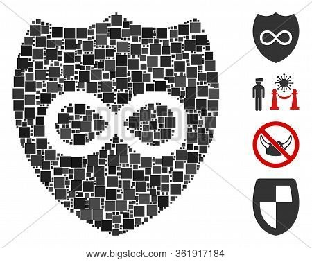 Mosaic Unlimited Shield Icon Organized From Square Items In Variable Sizes And Color Hues. Vector Sq