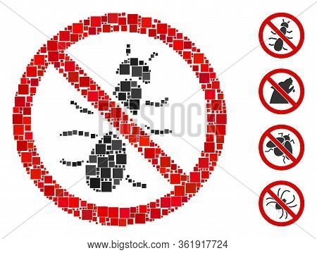 Mosaic No Ant Icon United From Square Items In Various Sizes And Color Hues. Vector Square Items Are