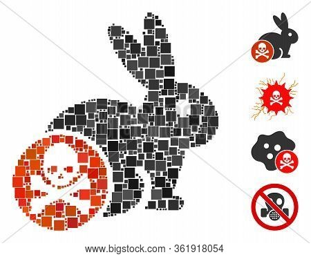 Collage Rabbit Toxin Icon Organized From Square Elements In Various Sizes And Color Hues. Vector Squ