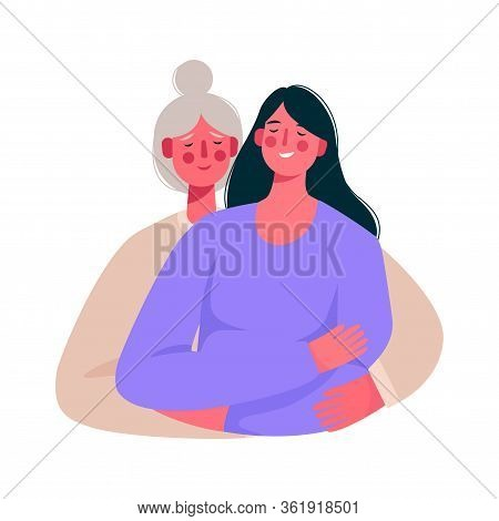 Happy Smiling Mother And Daughter. Senior Mother Hug Her Adult Daughter With Love. Happy Mothers Day