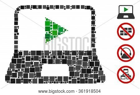 Mosaic Webcast Laptop Icon Designed From Square Items In Various Sizes And Color Hues. Vector Square
