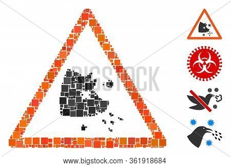 Collage Swine Flu Warning Icon Organized From Square Items In Various Sizes And Color Hues. Vector S