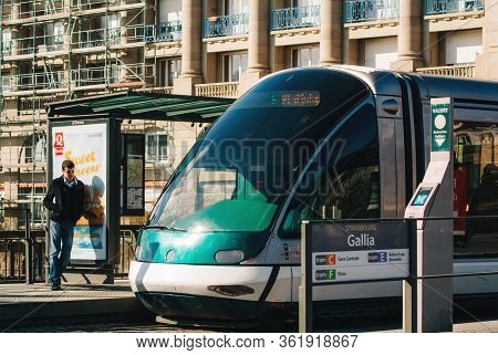 Strasbourg, France - Feb 20, 2013: Galia Tramway Station On Pont Royal In Central Strasbourg With Ma