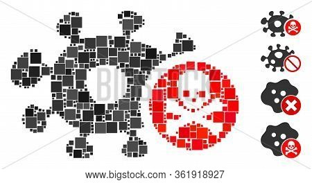 Mosaic Microbe Antibiotic Icon Designed From Square Elements In Various Sizes And Color Hues. Vector